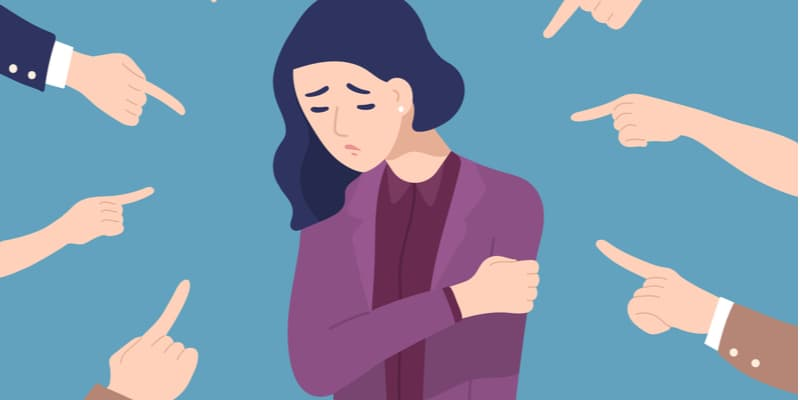 Illustration of a woman feeling anxious.