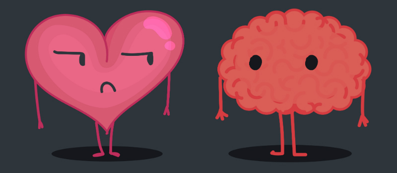 "An illustration of a heart and a brain ""standing"" next to each other."